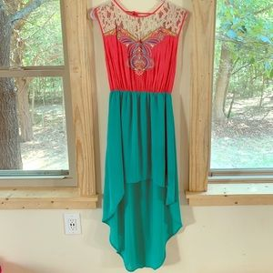 High Low Coral and Turquoise Dress